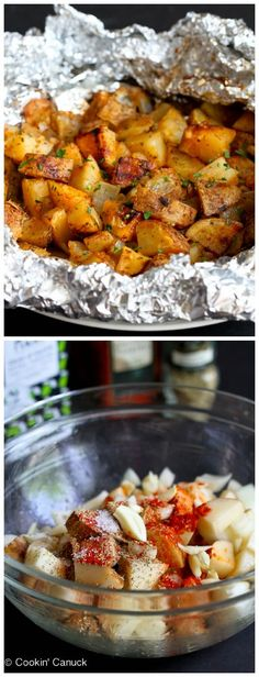 Grilled Potatoes Recipe with Rosemary & Smoked Paprika - Side Dish Ww Recipes, Side Dish Recipes, Vegetable Recipes, Dinner Recipes, Cooking Recipes, Healthy Recipes, Spicy Recipes, Recipies, Grilled Potato Recipes