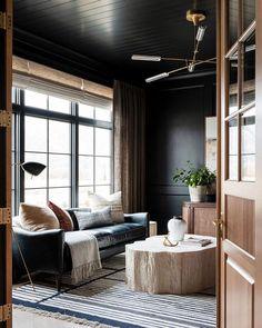 Ansel Rug – McGee & Co. Dark Living Rooms, Home And Living, Dark Wood Furniture Living Room, Black Sofa Living Room Decor, Dark Bedrooms, Manly Living Room, Masculine Living Rooms, Masculine Room, Home Office Design