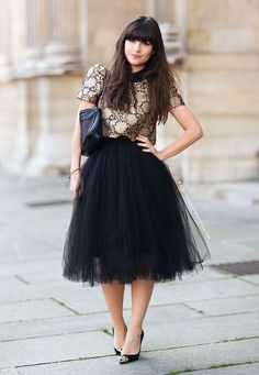 Nice 40 Feminime Look Black Tulle Skirt Outfits Ideas