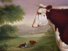 """American livestock portraits are scarce and this portrait by T.K. Van Zandt is truly extraordinary. The prize cow is painted in a Hudson River landscape setting with a sail boat in the distance. Thomas K. Van Zandt (1814-1886), signed lower left, """"Van Zandt""""."""