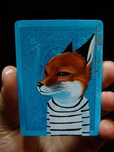Red Fox portrait N77 on a playing cards. Original acrylic painting. 2012. $16.00, via Etsy.