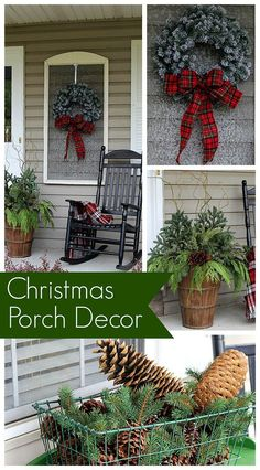 Festive Christmas porch decorations that transition easily from Christmas to winter are found on our rustic, farmhouse, plaid and nature inspired porch.