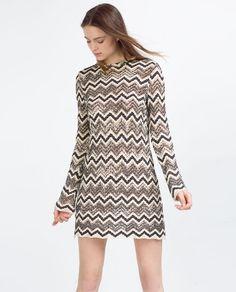 Image 1 of TWO-TONE KNIT ZIGZAG DRESS from Zara