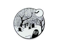 Glow in the dark Halloween graveyard enamel lapel pin