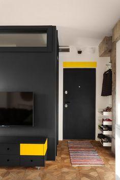 43m2-es lakás újratervezett elosztással, falak elbontásával tágas teret alakítva