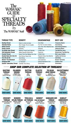 WAWAK Guide To Specialty Threads Has some great pricing on Brand name thread like Maxi Lock for sergers and Zippers but to get free shipping must place order of $100.00 or pay $4.89 for under $100.00..  Thank you Tawanda Maker for the pin!!!! TIP: Store thread out of direct sun light and in boxes or cabinets so it is dust free!!