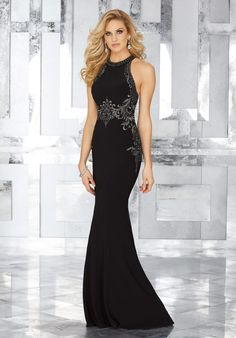 Crystal Beaded Embroidery on Jersey. Matching Stole. Colors Available: Black/Eggplant.