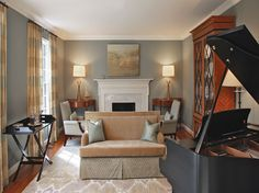 In this #music #room, Barbara Hawthorn designed a two-sided #sofa to float in the room. #interior #design #furnishings