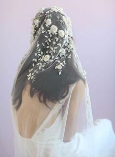 Juliet vintage inspired veil, twigs and honey, embroidered veil, bridal veil
