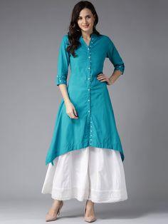 Buy HERE&NOW Blue Solid A-Line Asymmetric Kurta online in India at best price.Blue solid A-line kurta , has a mandarin collar, three-quarter sleeves, dipped hem, multiple slits Simple Kurta Designs, Kurta Designs Women, Kurta Patterns, Dress Patterns, Designer Kurtis Patterns, Dress Neck Designs, Blouse Designs, A Line Kurti, Mode Abaya