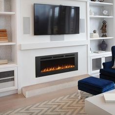Image of Napoleon Allure Phantom Linear Wall Mount Electric Fireplace – Home – fireplace Tv Above Fireplace, Linear Fireplace, Wall Mount Electric Fireplace, Fireplace Built Ins, Home Fireplace, Fireplace Remodel, Living Room With Fireplace, Fireplace Design, Electric Fireplaces
