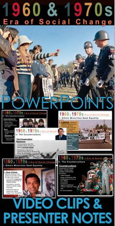Era of Social Activism PowerPoint with built in Youtube video links and presenter notes takes students to the turbulence of the late 1960s and early 1970s in which various ethnic groups and women stood up and demanded their rights. Meanwhile, Baby boomers rebelled against the conformity of the 1950s and formed the counterculture. This 17 slide PowerPoint uses primary source documents, graphs, and maps for student analysis.