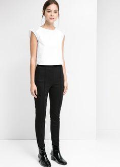 High-waist ponte trousers