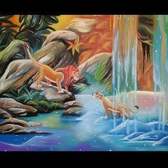 Disney Art, Walt Disney, Pride Rock, Disney Animated Movies, Disney Animation, Lion, Sea, Craft, Painting