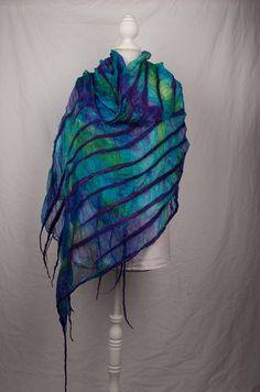 Nuno felted scarf, with silk gauze, merinowool and tussahsilk, purple/blue/turkois/green