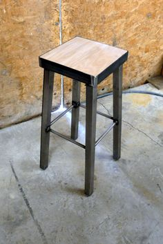 Galvanized steel or Bamboo metal Bar Stool by by ModernIndustrial $132