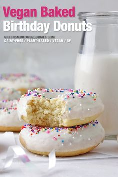 Funfetti baked birthday donuts, healthier vegan donuts with a light tasty icing that showcases funfetti sprinkles beautifully. A fast, easy recipe, gluten-free, dairy-free and with a keto option. Superfood Recipes, Vegan Dessert Recipes, Desert Recipes, Gluten Free Donuts, Vegan Gluten Free, Dairy Free, Paleo, Healthy Donuts, Healthy Sweets