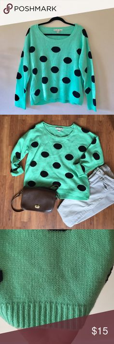 """MOVING 🍉Mint Polkadot Acrylic Cozy Sweater This sweater is super soft and perfect with skinny jeans.  Very faint stain pictured, 100% acrylic. 22.5"""" long.   Ships from Hawaii 🌺 No trades 😇 Reasonable offers welcome 👍🏻 Bundle & save 💰 Love By Design Sweaters"""