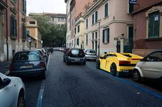 domenico franco has digitally introduced LEGO lamborghinis, helicopters, tractor trailers, and camper vans around the urban landscapes of italy.
