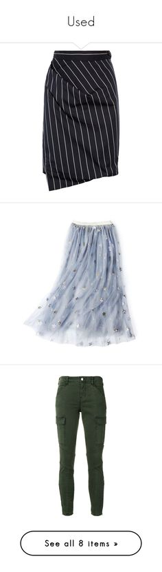 """""""Used"""" by martesaltroo on Polyvore featuring skirts, bottoms, vivienne westwood, saias, navy, zip skirt, knee length pleated skirt, stripe skirt, navy blue pleated skirt and above the knee skirts"""