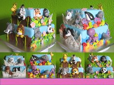 Zoo cake with a lot of animals :) Based on the Dierentuin taart van Wendy Schlagwein - Taartmama.nl
