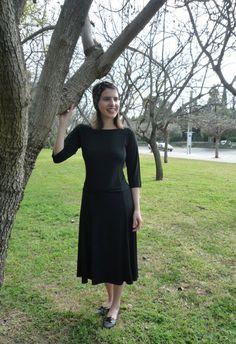 Black dress modest dress modest chic modest by TAMAR LANDAU