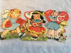 Vintage Valentine Lot of 3 Gibson 1950s Little Girls Puppies Bunny Native American #8 by ToBeJolly on Etsy