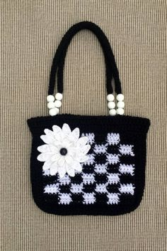 Crochet Flower Bag, Crochet Bag and Purses, Crochet Hand Bag, Crochet Bags, Crocheted Bag, Crochet Purses by kroshkame on Etsy