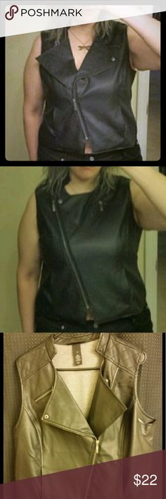Zip up biker vest Soft faux leather zip up biker vest. Can be worn with flap open or closed, can be worn as a vest or if you're in the feisty mood a shirt. Lane Bryant Jackets & Coats Vests