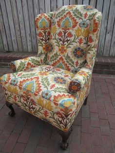 Nice-Looking Antique Wingback Chairs Collection : Colorful Patterned Antique Upholstery Fabric Wingback Chair Design Inspiration for Classic Style Living Room Decor Chair Upholstery, Chair Fabric, Wingback Chairs, My Home Design, Home Interior Design, My Living Room, Living Room Chairs, Colorful Accent Chairs, Up House