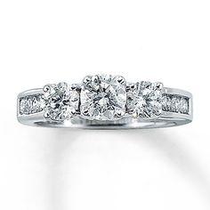 Three Stone Diamond Ring 1 1/2 Ct Tw Round Cut 14K White