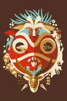 This would make a great tattoo! Princess Mononoke by Danny Haas
