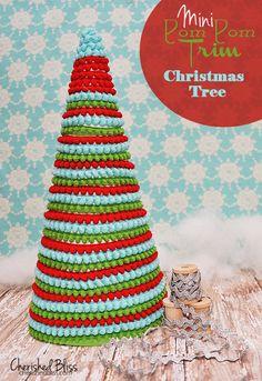 DIY Pom Pom Ribbon Christmas Tree | Shelterness