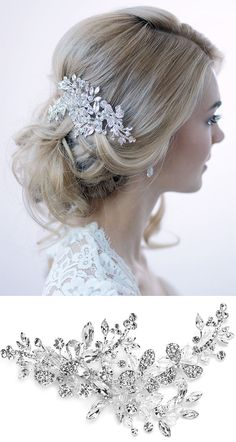 Elegant floral bridal hair clip with Swarovski crystals that glimmer effortlessly <3