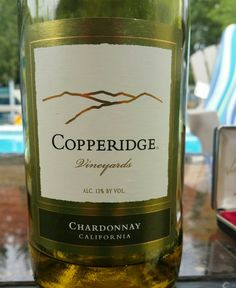 Copperidge Chardonnay USA California. 13 % alcohol $ 14 Light buttery taste and apple and peach flavors. 86 pts. A little light on flavors.