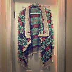 Aztec Cardigan by B Sharp! Beautiful colors! Aztec cardigan by B sharp! Lovely colors and beautiful Aztec design! Worn once! B Sharp Sweaters Cardigans