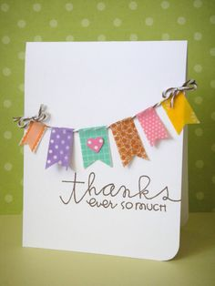 happy handmade card ... washi tape banners on a baker's twine line ...