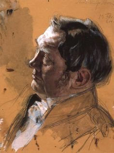 Adolph von Menzel (1815-1905). Portrait Study of Maximilian von Schwerin-Putzar, 1864. Pencil, watercolor, gouache on toned paper. 30.1 x 22.5 cm. (11.9 x 8.9 in.)