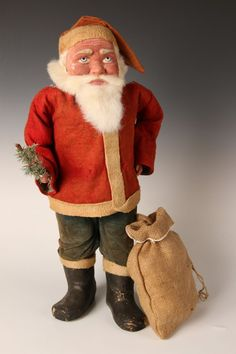 RARE 19-INCH GERMAN SANTA CLAUS CANDY CONTAINER c1900 : Lot 120