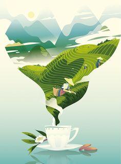 New Ideas For Graphic Landscape Illustration Poster Art And Illustration, Creative Illustration, Illustrations And Posters, Graphic Design Illustration, Magazine Illustration, Logo Anime, Tea Design, Cover Design, Design Art