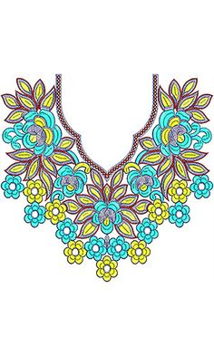 Southwestern Girls Neck Embroidery Design