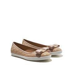New Bisque Ballerina Sneaker with Vara Bow - Shoes - Women - Salvatore Ferragamo