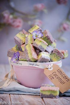 Unicorn Coconut Ice – Eighty 20 Nutrition Nice Cream, Summer Parties, Savoury Cake, Raw Food Recipes, Dessert Recipes, Clean Eating Snacks, Healthy Eating, Mini Cakes, Original Recipe