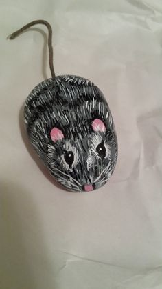 Mouse rock, rock pet, hand painted rock art, garden or plant decor, paper weight