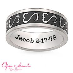 Open+Hearts+by+Jane+Seymour™+Personalized+Unisex+Wedding+Band+in+Titanium+with+Black+Enamel+(1+Line)