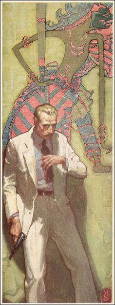 Mead Schaeffer (1898-1980). The enigmatic man in the white suit and revolver. With the tropical suit and the Javanese puppet design in the background, this is presumably an illustration for a story set in the Far East. Schaeffer produced illustrations for many American magazines and numerous 'adventure' books, including 'Moby Dick' & 'The Count of Monte Christo'.