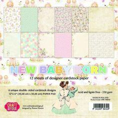 Craft and You Design - Set of scrapbooking papers - New Baby Born