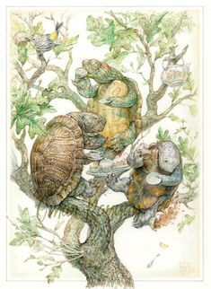 by Omar Rayyan. Turtles drinking tea! Couldn't be better. :)