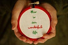 Christmas ornamentyarn wrapped embroidery by SentimentalSundays