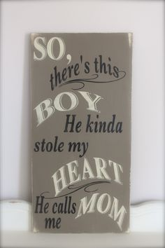 So There's This Boy, Wall Art, Wood Sign, Custom Sign, Quote, Boy, Quote sign. $55.00, via Etsy.